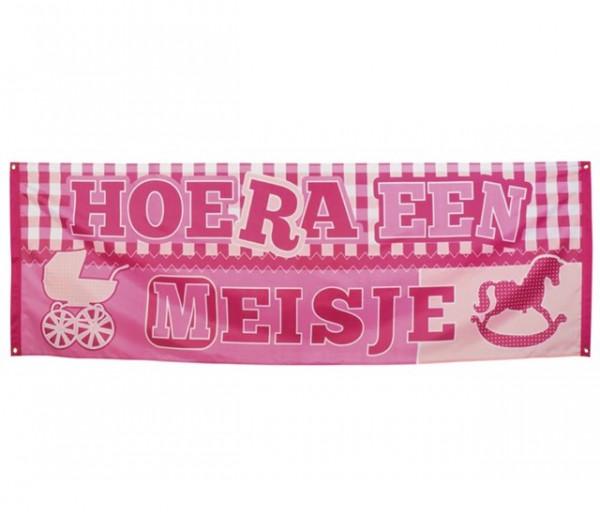 Polyester banner 'Hoera een meisje'