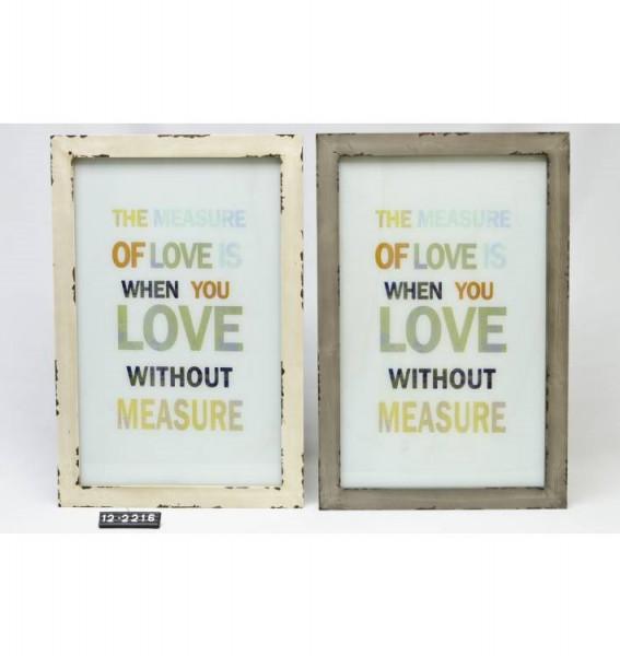 Wandlijst hout met glazen tekstbord 61x