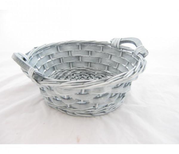 Mandje white wash rond 25x9 cm