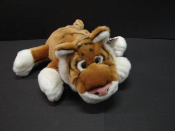 Pluche handpop met stem tijger