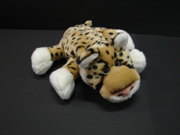 Pluche handpop met stem Leopard