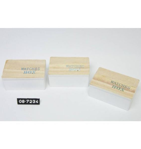 Horloge doosje hout met tekst 17,2x11x7