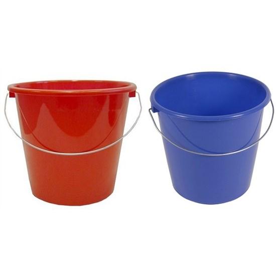 Huishoudemmer 10 ltr rood/blauw/groen