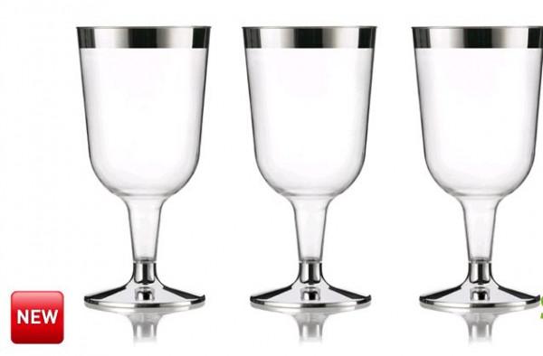 Wijnglas transp/zilver 177cc set/6