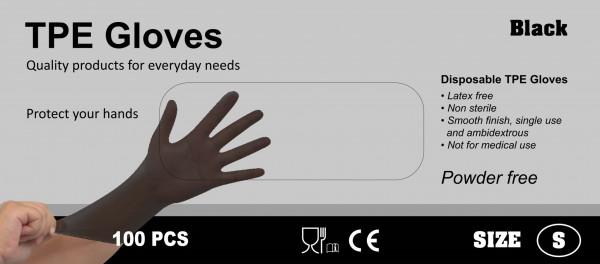 TPE Handschoenen 100 stuks maat M zwart